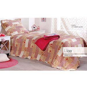 Couvre lit et plaid boutis patchwork LILOU rose