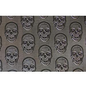 Tissu simili cuir embossé motif tête de mort
