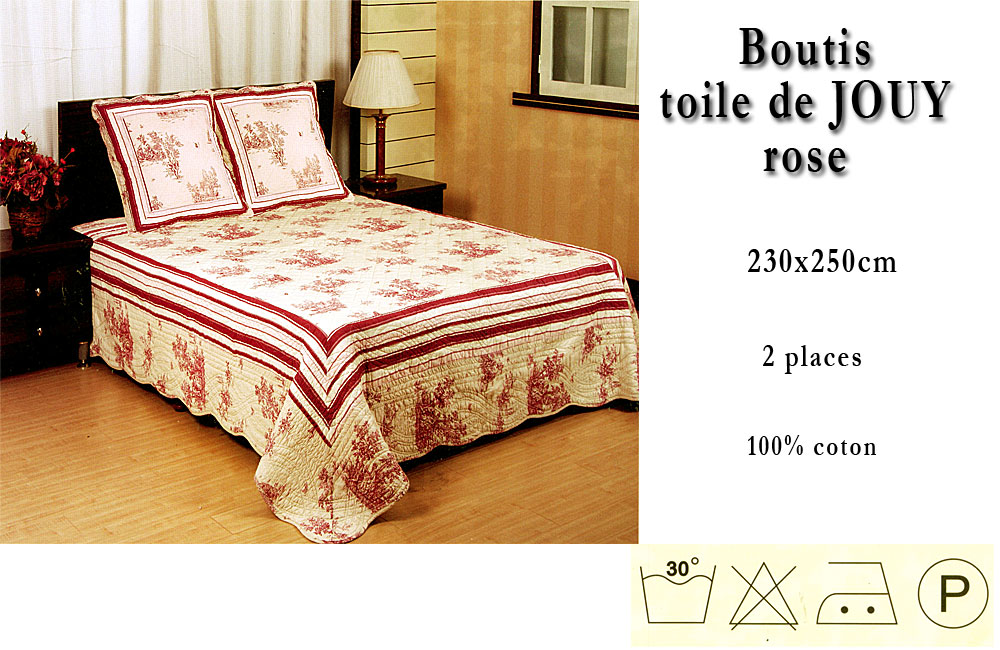 couvre lit boutis toile de jouy 230x250 rose lit 2 personnes ebay. Black Bedroom Furniture Sets. Home Design Ideas