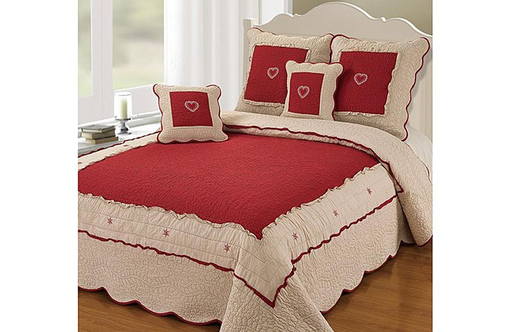 Couvre lit boutis lola rouge pour lit de 140 160 180 et 200 cm ebay - Dimensions draps lit 180 sur 200 ...