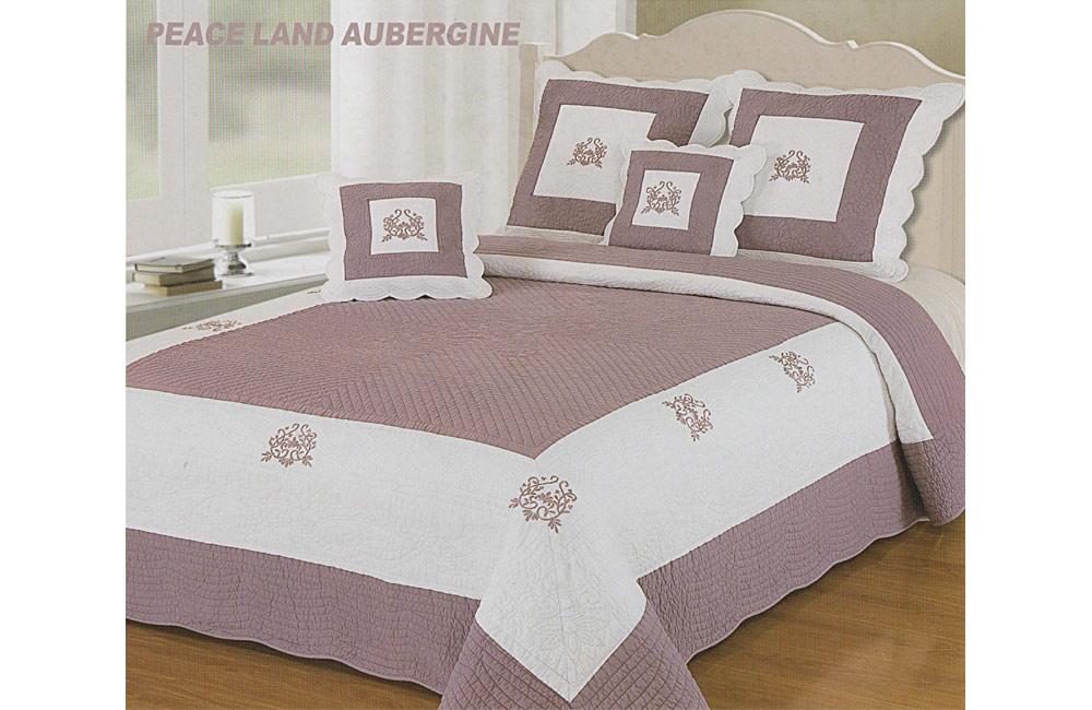 Couvre lit boutis brod coeur peaceland aubergine et blanc lits du 140 au 200 - Couvre lit aubergine ...