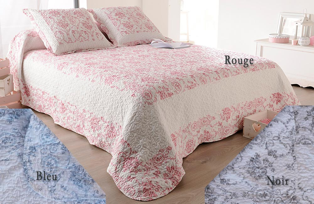 Jet de lit couvre lit et plaid boutis toile de jouy ebay - Porte sur le feu et jete dedans ...