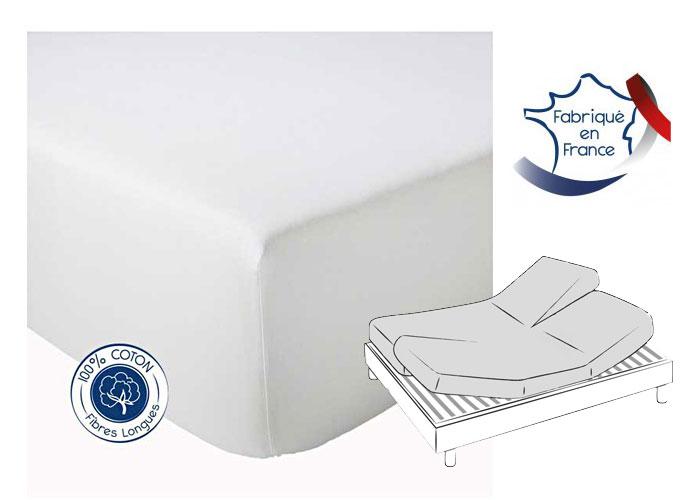 ... Drap Housse Pour Sommier Articulé 2x80x200cm Coton Uni Bleu Céleste  Bonnet 30 Cm ...