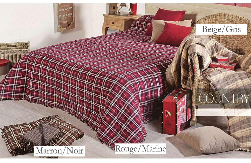 Couvre lit et plaid cossais country ebay for Royal tiss boutis
