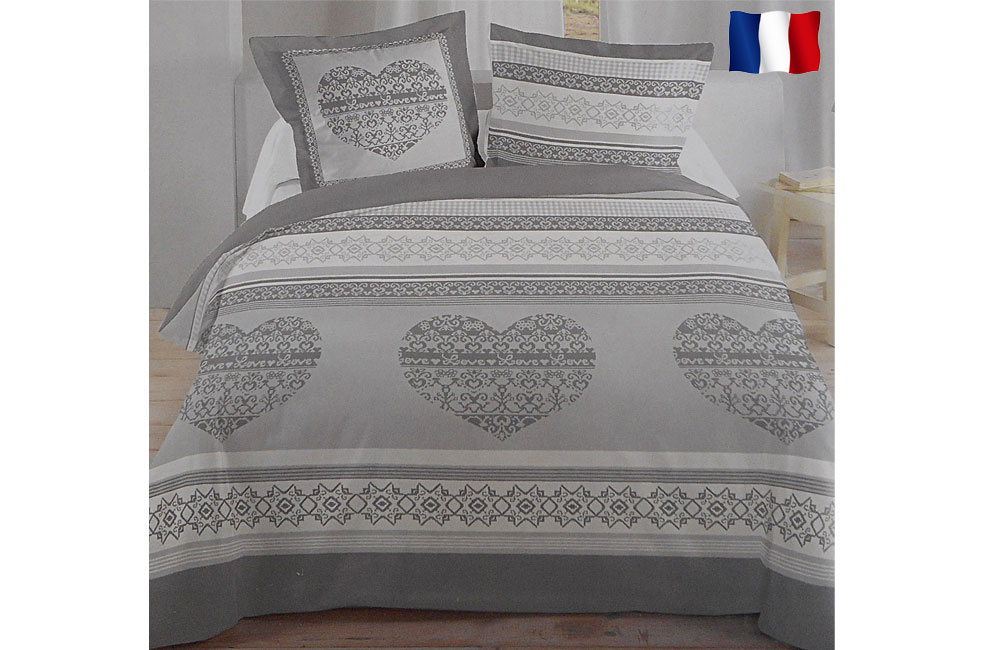 parure de draps 4 pi ces flanelle grise 140x190cm th me le puy en velay. Black Bedroom Furniture Sets. Home Design Ideas