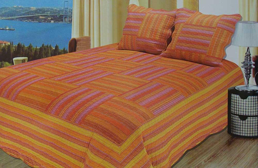 Boutis multicolore orange 2 taies d 39 oreiller lit 2 for Royal tiss boutis