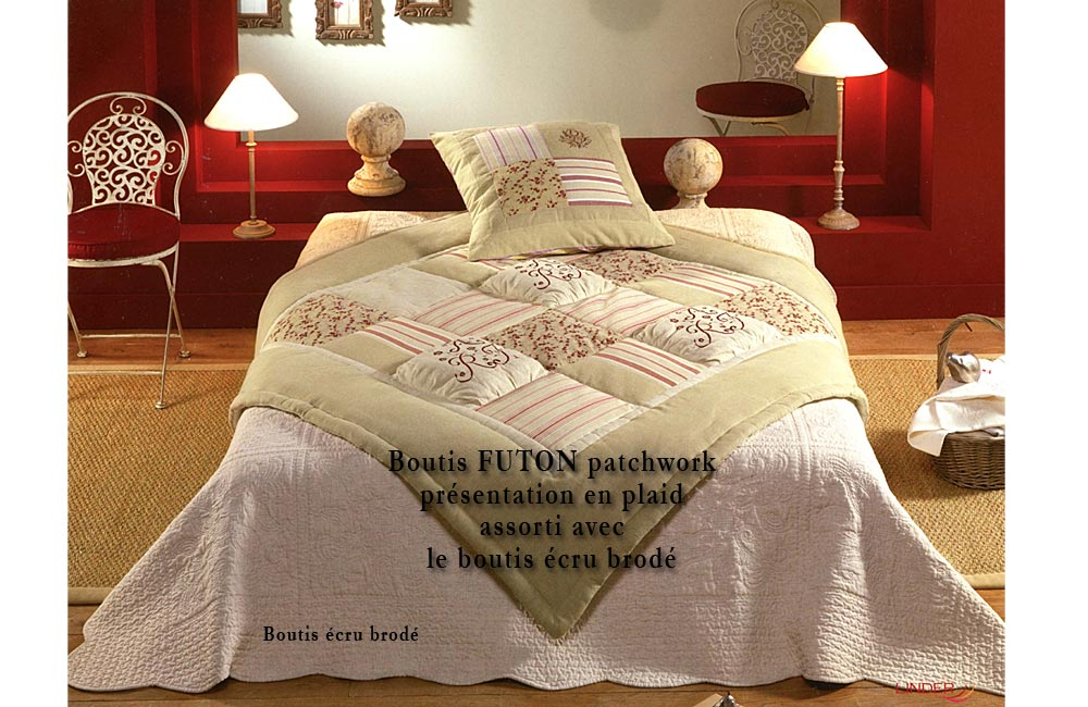 couvre lit boutis futon 180x240cm patchwork boutis. Black Bedroom Furniture Sets. Home Design Ideas