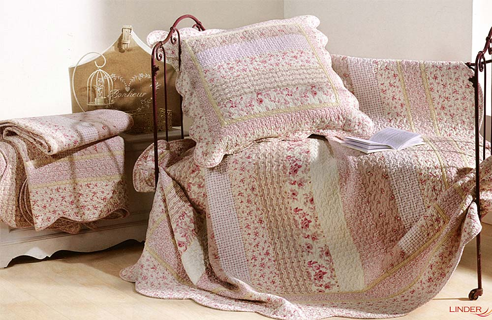 Couvre lit et plaid boutis marylou rose ebay for Royal tiss boutis