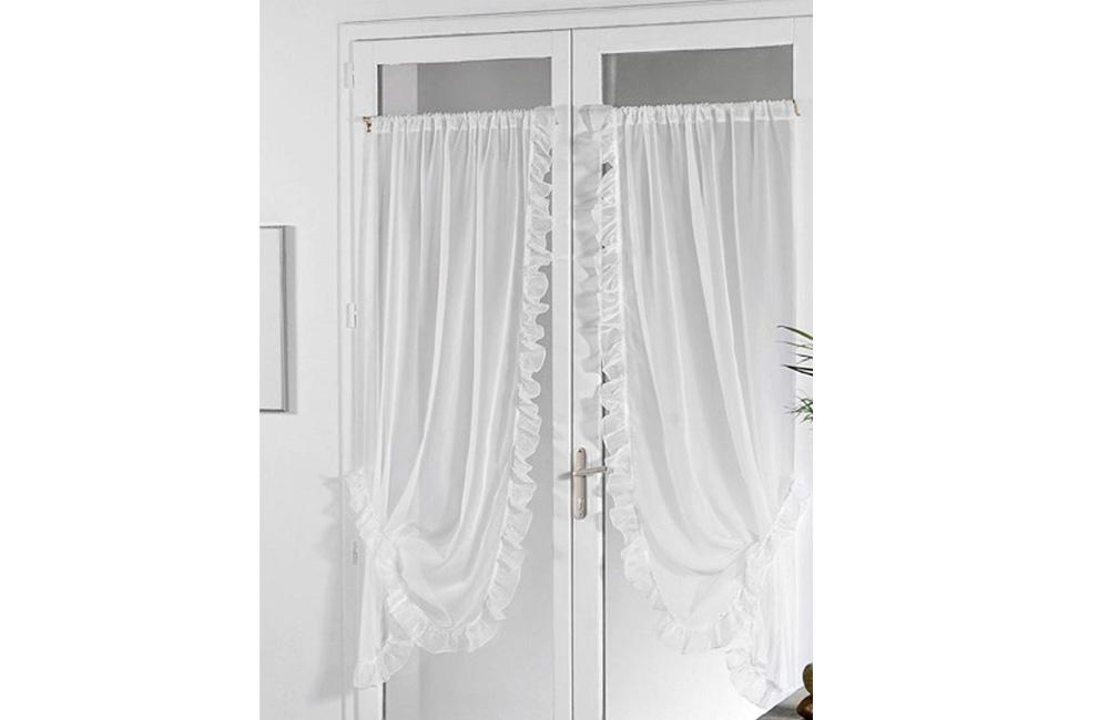 paire de rideaux bonne femme voilage plein jour blanc 95x150 ou 95x210 cm ebay. Black Bedroom Furniture Sets. Home Design Ideas