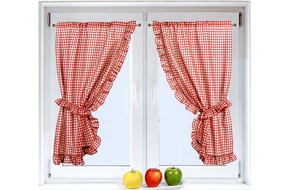 Paire de petits rideaux carreaux vichy rouge 75x160cm for Fenetre a carreau