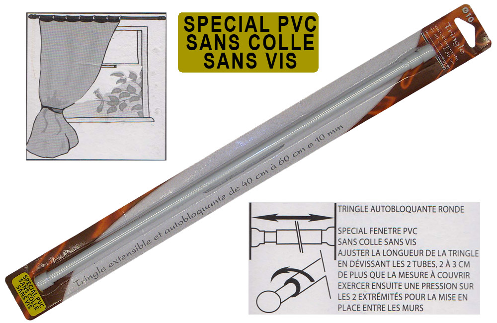 Tringle rideaux blanche extensible sp ciale pvc diam tre for Tringle rideau pour fenetre pvc