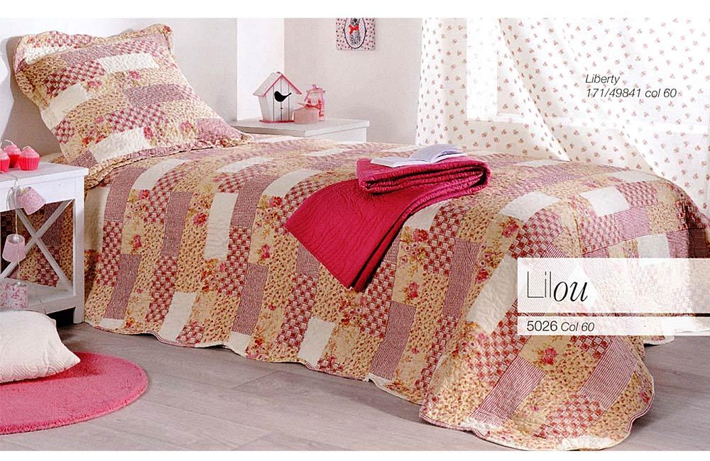 couvre lit et plaid boutis patchwork lilou rose ebay. Black Bedroom Furniture Sets. Home Design Ideas