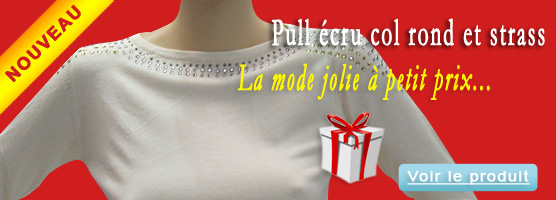 Pull écru col rond et strass